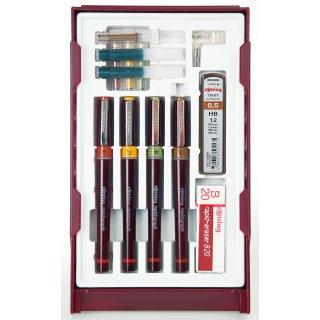 Rotring Rapidographen College Tuschestiftesatz, Strichstärken: 0,25 / 0,35 / 0,50 / 0,70 mm