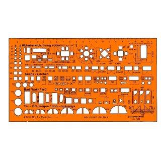 Standardgraph Zeichenschablone Architekt-Werkplanschablone 1:100