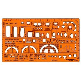 Standardgraph Zeichenschablone Architekt-Werkplanschablone I / 1:50