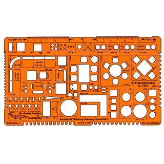 Standardgraph Zeichenschablone Architekt-Werkplanschablone II / 1:50
