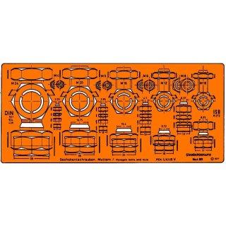Standardgraph Sechskant Schrauben und Muttern Schablone
