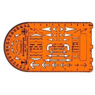 Standardgraph Zeichenschablone Pocket 2 Schablone, Technische Pfeile