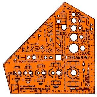 Standardgraph Zeichenschablone Schulwinkel Stano Metall Schablone