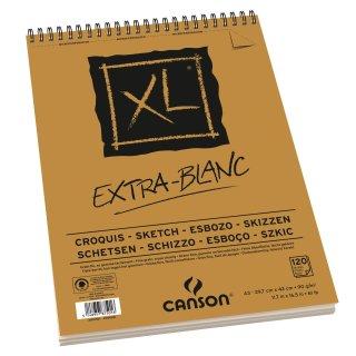 Canson Skizzenblock XL Extra White mit doppelter Spirale an der kurzen Seite, 90g/m², A3, 120 Blatt