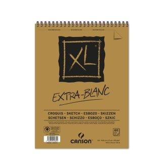 Canson Skizzenblock XL Extra White mit doppelter Spirale an der kurzen Seite, 90g/m², A5, 60 Blatt