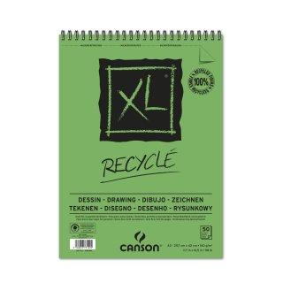 Canson Skizzenblock XL Recycled mit doppelter Spirale an der kurzen Seite, 160g/m², A3, 50 Blatt