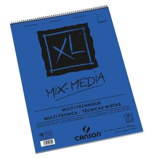 Canson XL Mix Media Block mit doppelter Spirale an der kurzen Seite, 300g/m², A2, 15 Blatt