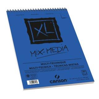 Canson XL Mix Media Block mit doppelter Spirale an der kurzen Seite, 300g/m², A3, 30 Blatt