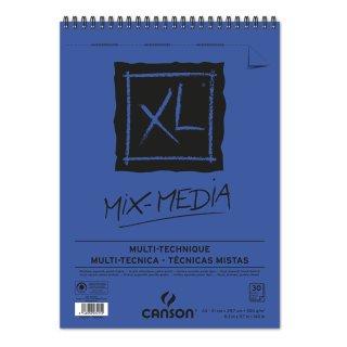 Canson XL Mix Media Block mit doppelter Spirale an der kurzen Seite, 300g/m², A4, 30 Blatt