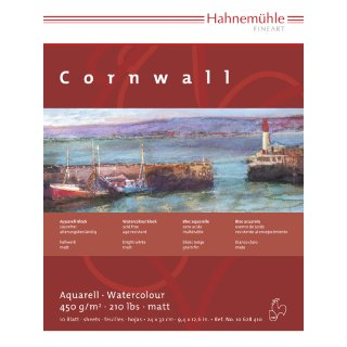 Hahnemühle Aquarellkarton Cornwall Aquarellblock 450 g/m² Größe: 24 x 32 cm / Blockinhalt: 10 Blatt