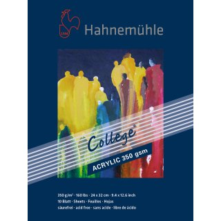 Hahnemühle College Acrylblock / Acrylmalkarton 350 g/m² Größe: 24 x 32 cm / Blockinhalt: 10 Blatt
