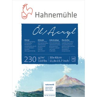Hahnemühle Öl- und Acrylmalkarton 230 g/m² Größe: 30 x 40 cm / Blockinhalt: 10 Blatt