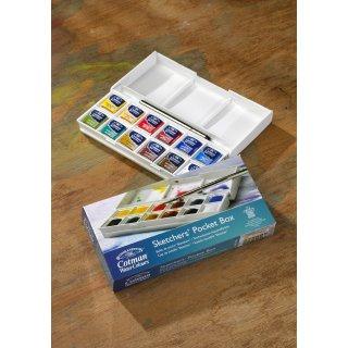Winsor & Newton Sketchers Pocket Box Aquarellkasten mit 12 halben Näpfen und ein Taschenpinsel