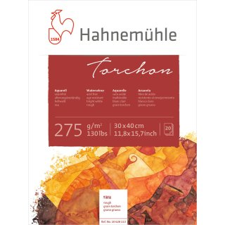 Hahnemühle Torchon Aquarellpapierblock / Aquarellkarton 275 g/m² Größe: 30 x 40cm / Blockinhalt: 20 Blatt