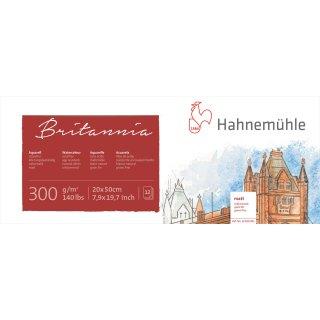 Hahnemühle Akademie-Aquarellkarton Britannia Aquarellblock, matte Oberfläche, 300 g/m² Größe: 20 x 50 cm / Blockinhalt: 12 Blatt