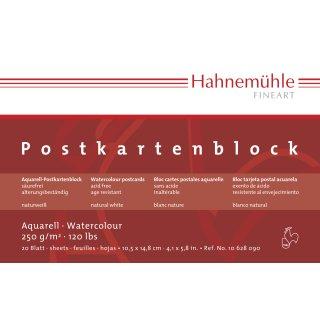 Hahnemühle Aquarell- Postkarten 250 g/m² , Größe: 10,5 x 21,0cm / Blockinhalt: 20 Blatt