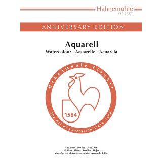 Hahnemühle Anniversary Edition-Aquarell 425 g/m²  Größe: 30 x 40cm Aquarellblock / Blockinhalt: 15 Blatt