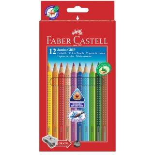 Faber-Castell 12er Jumbo GRIP Farbstifte mit Spitzer im Kartonetui