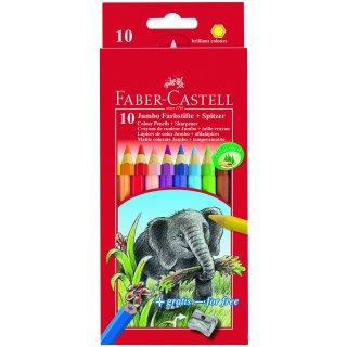 Faber-Castell 10er Jumbo Classic Colours Farbstifte + Spitzer im Kartonetui