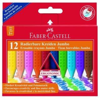Faber-Castell GRIP radierbare Kreiden Jumbo, 12er Kartonetui