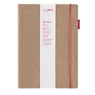 senseBook RED RUBBER, Large, blanko - 205 x 285mm, 135 nummerierte Seiten