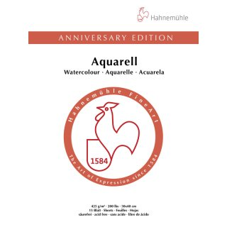 Hahnemühle Anniversary Edition-Aquarell 425 g/m²  Größe: 36 x 48cm Aquarellblock / Blockinhalt: 15 Blatt