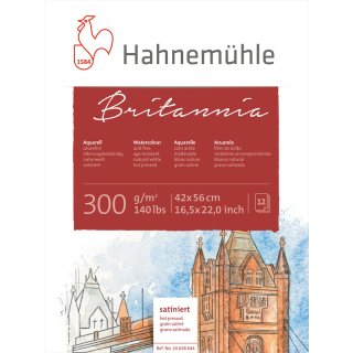 Hahnemühle Akademie Aquarellkarton Britannia Aquarellblock, satinierte Oberfläche, 300 g/m² Größe: 42 x 56 cm / Blockinhalt: 12 Blatt