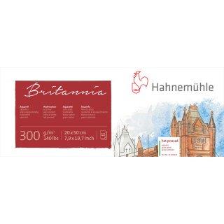 Hahnemühle Akademie Aquarellkarton Britannia Aquarellblock, satinierte Oberfläche, 300 g/m² Größe: 20 x 50 cm / Blockinhalt: 12 Blatt