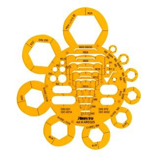Abrundungs- und Mutterschablone Radien 1 bis 25 mm, Tuschenoppen
