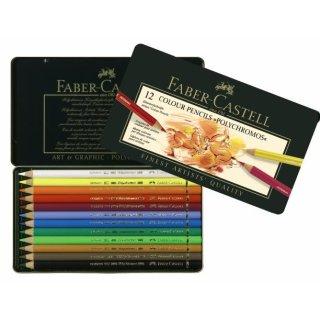 Faber-Castell Polychromos Künstlerfarbstifte Metalletui mit 12 Stiften