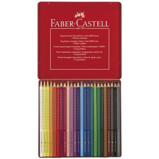 Faber-Castell 24er COLOUR GRIP Farbstifte im Metalletui