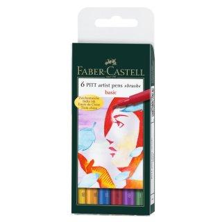 Faber-Castell PITT artist pen 6er Etui mit Pinselspitze