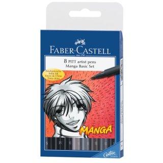 Faber-Castell PITT Artist Pen Brush 8er Etui sortierte Farben Set Manga
