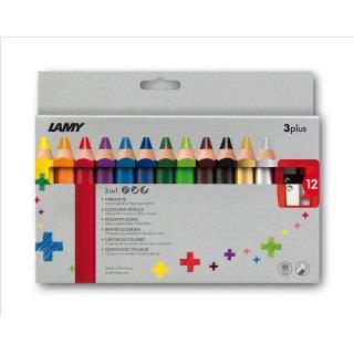 Lamy 3plus, Modell 520 Farbstifte 12er Set Faltschachtel inklusive Spitzer gratis