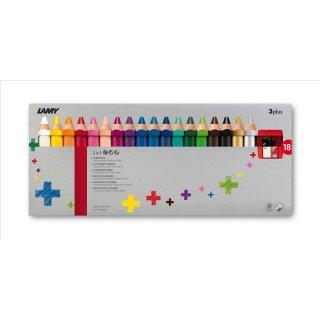 Lamy 3plus, Modell 520 Farbstifte 18er Set Faltschachtel inklusive Spitzer gratis