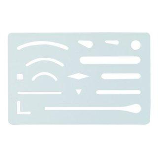 Radierschablone aus rostfreiem Federstahl 60 x 93 x 0,1 mm mit 15 Ausschnitten