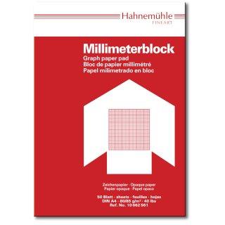 Hahnemühle Millimeterblock DIN A4, mit rotem Rasteraufdruck 1mm-Teilung, 80/85g/m², 50 Blatt