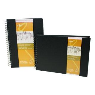 Hahnemühle Skizzenbuch D&S, DIN A4, schwarz, 80 Blatt, 140 g/m², Spiralheftung