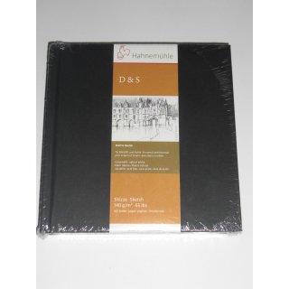 Hahnemühle Skizzenbuch D&S, Format 14,0 x 14,0 cm, schwarz, 80 Blatt, 140 g/m², Fadenheftung