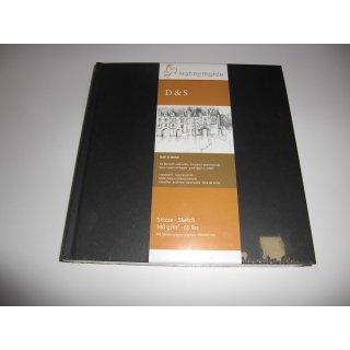 Hahnemühle Skizzenbuch D&S, Format 19,5 x 19,5 cm, schwarz, 80 Blatt, 140 g/m², Fadenheftung