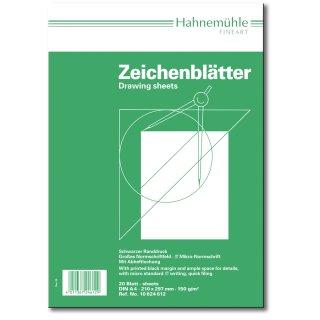 Hahnemühle Zeichenblätter A4 hoch, 190 g/m², 20 Blatt, mit Randdruck und Schul-Schriftfeld